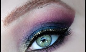 Teal/purple makeup with gold glitter eyeliner by @makeupbyeline