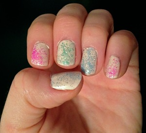 For this manicure I used: Maybelline - Canary Cool Loose ultra fine glitter from Michaels in pink, green and blue