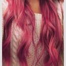Pink curler hair