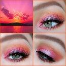 Pink&orange sunset look