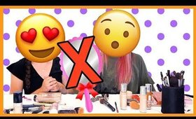 BLIND GIRL VS. SIGHTED GIRL - NO MIRROR MAKEUP CHALLENGE