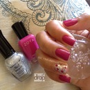 Pink Polka Dot and Glitter Manicure