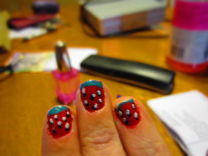So ready for summer :) Strawberry Nails :) kinda messy, was in a hurry but really cute and simple desgin :)