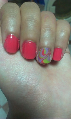 First attempt at water marble nails :/