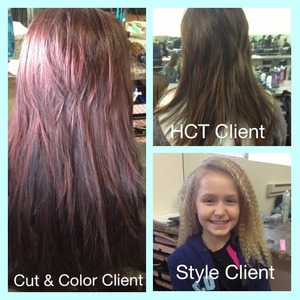 Color, style, and a haircut done on three different clients. Style- crimped hair for a talent show. Color- halo affect with a brighter red through top section using TiGi color line. HCT- trimmed up layers and very little length.