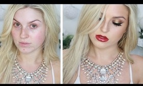 Christmas Glamour! ♡ Sexy Eyes & Glitter Red Lip!