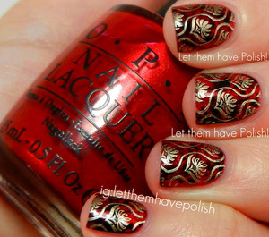 Ornate Steampunk inspired Rd based look. Cling wrap and stamping