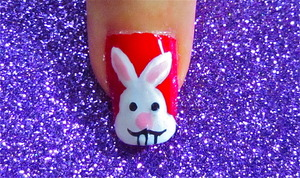 Cute bunny nail art. to watch video tutorial for this look, SUBSCRIBE free to my youtube nailart channel: www.youtube.com/nailartbynidhi