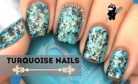 Turquoise Water Spotted Nails by The Crafty Ninja
