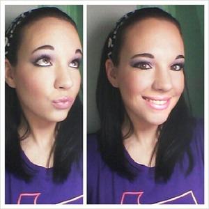 Purple eyes and pink sheer lips
