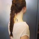 Fish tail braid, birds tattoo .