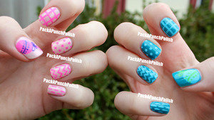 The pink nails are Sinful Colors Easy Going with Sinful Colors Glass Pink on top. The blue nails are Sinful Colors Savage. The designs are done with acrylic paint.  http://packapunchpolish.blogspot.com/2012/09/simple-baby-shower-nail-art.html