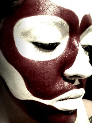 Base makeup for what would become a day of the dead look (Dia de los muertos)