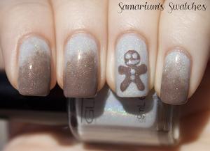 Glitter Gal GingerBreadMan Mani   http://samariums-swatches.blogspot.com/2011/12/glitter-gal-light-as-feather-suede.html