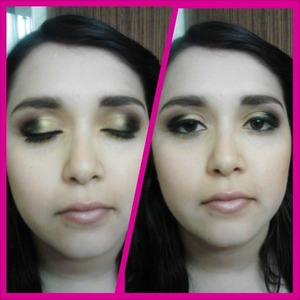 full face makeup smokey eye with gold base and black and coral crease colors