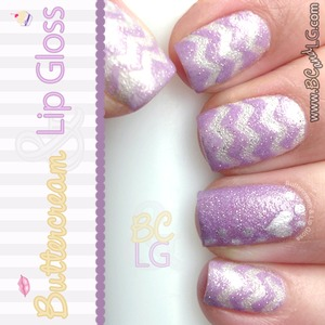 Purple and white chevron stripes with a heart. Colors used: http://www.buttercreamandlipgloss.com/2014/02/notw-purple-white-chevron-stripes-with.html.
