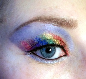 Glitter Rainbow in the cloudy sky :P More pictures and products used: http://colourbymakeup.blogspot.com/2011/12/glitter-rainbow-pictures-and-products.html