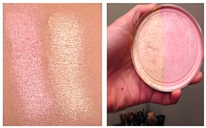 This is a dual-toned face highlight - one gold toned one pink toned. These are very sheer and build-able and give really natural light to the face. The pink was had a strong silver undertone so I will only use this as a brow highlight not on the cheeks.  I used: 95% Rubbing Alcohol Broken and old drugstore quads and shadows Loose Shany Cosmetics Pigments Broken Coastal Scents Blush