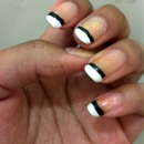 Black & white french manicure