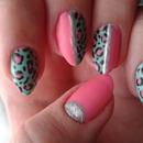 Pink, mint green leopard print