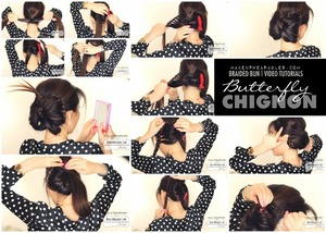 Butterfly braid chignon hair tutorial video.  See how you can do this braided hairstyle on your own hair. http://www.makeupwearables.com/2013/11/braided-hairstyles-butterfly-tutorial.html