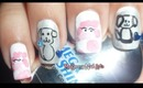 Pink Poodles and Puppies Outline Nail Art / Diseño de perritos