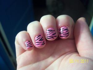 BubbleGum Zebra Nails!  http://mindbodybeauty.blogspot.com/2011/05/bubblegum-zebras.html