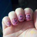 Bubblegum Zebra Print Nails