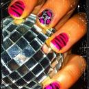 zebra/cheetah nails