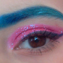 Glitter eyes and blue ombre eyebrows