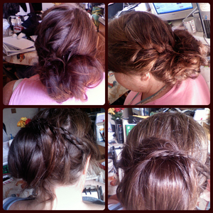 Top two as one-Has a french side braid, on one side. Below- Two braids off the sides that wraps around a bun.