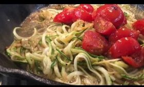 Candida Free Diet recipes - zucchini noodles with sautéed tomatoes, kale and garlic