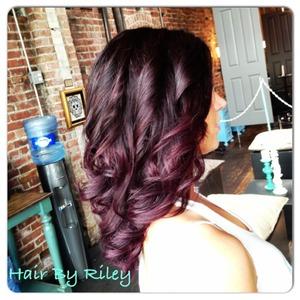 Hair by Riley  Facebook.com/beautybyriley Youtube.com/rileyyvalentine  Instagram.com/rileyyvalentine  Twitter.com/rileyyvalentine  Vine [username] rileyyv Keek [username] rileyyvalentine