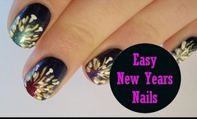 Easy New Years Nails ♥ Simple Firework Explosion Inspired Nail Art