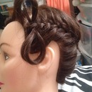 Diagonal French braid with a Bow