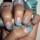 Glittery Pastel Pink, Purple, and Aqua Blue Gradient Nails