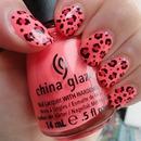 Pink leopard print nails