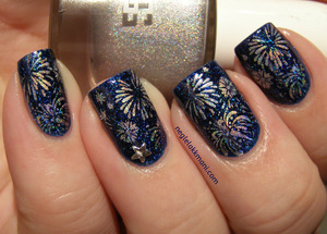 FNUG psychedelic stamped over picture polish Cosmos, stamping plate Big SdP-D