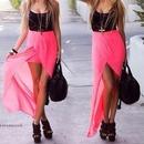 Pretty pink and black maxi dress!