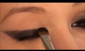 Dramatic winged eyeliner look