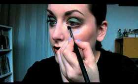 Green & Brown Smokey Eye with Dark Lips