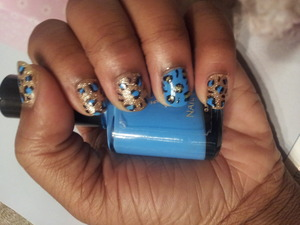 blue and gold leopard print