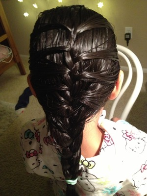 I did this simple braid on my little sister :) and yes she does have Hello Kitty pajamas :) lol