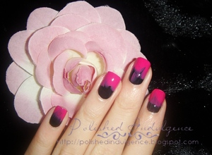 Pink and black ombre nails inspired by the nails from Jen Kao Spring 2012 runway.