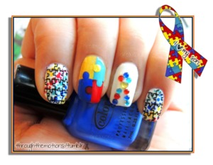 April is Autism Awareness Month!   Base: Finger Paints .:. Paper Mache  Other Colors:  Color Club .:. Insta-this Nailtini .:. Bloody Mary L'oreal .:. I Sea You  (applied over yellow makes appear really bright) The Icing .:. Lemon Cello On The Rocks  Plate: MJ Image Plate with Finger Paints .:. Black Expressionism
