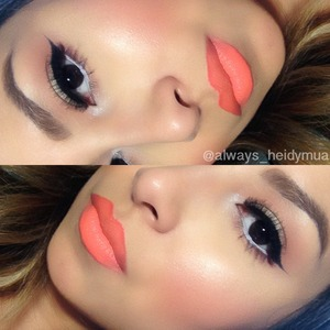 Natural look with orange lipstick