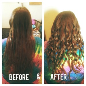 did a friends hair today, which do you like better her with a straight or curly hair? Xo