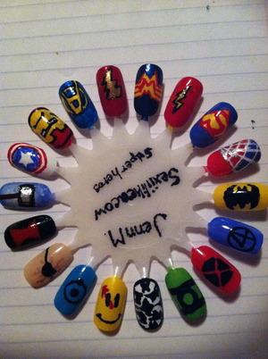 Got a little bored today. Superhero nails.