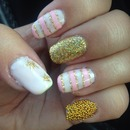 Pink and gold glitter stars and caviar nails