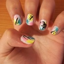 Summer abstract flower nails!
